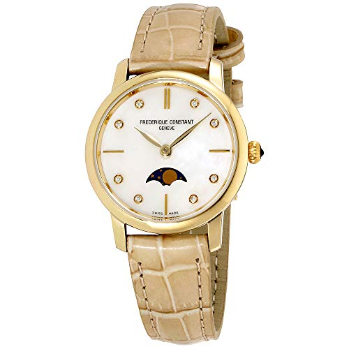 Frederique Constant Slimline Mother of Pearl Dial Leather Strap Ladies Watch FC206MPWD1S5XG (Certified Refurbished)