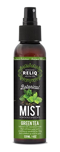 RELIQ Aroma SPA Green Tea Botanical Mist cologne for Dogs and Cats. Spray on the coat after bath to give your dog a clean & fresh smell. Infused with natural extracts, calming and comforting dog & cat