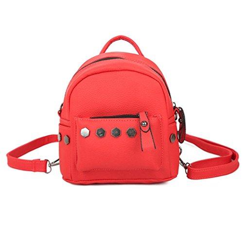 femme dos école à sac dos TM Coloré dos de Sacs à sacs Cartable cuir sac femmes Sac bonne college à qualité dos à Rouge femme Mode en rivet dos d0Xdwq4H