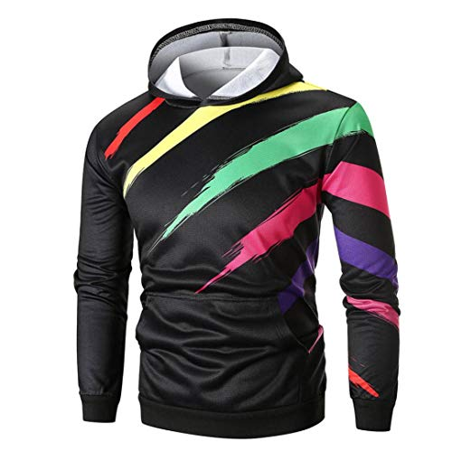 zahuihuiM Hommes Color Sweat Capuche, Hiver Casual Mode Tops Blouse Manches Longues avec Poche Outwear Manteau Multicolore