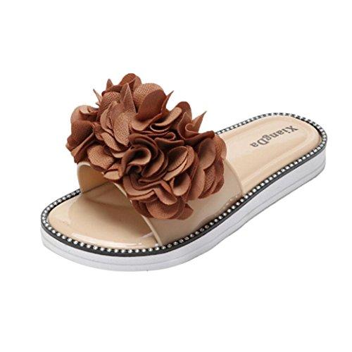Baomabao Femmes Pantoufles Plage Chaussures Plates Fleur Été Sandales Flops Marron