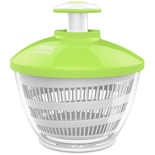 Nuovoware Salad Spinner, Premium Fast Dry Off Drain Salad Vegetable Spinner with 3.6 Quart Large Bowl and Paddle Mechanism for Easy and Faster Food Prep, White & Green by Nuovoware
