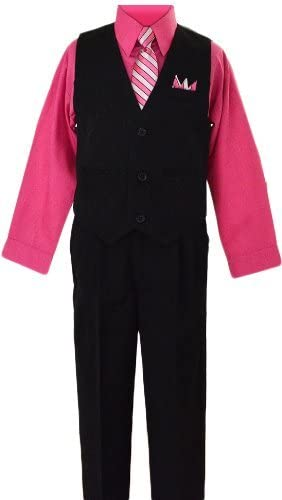 Black n Bianco Boys Toddlers Fuchsia Pink Pinstripe Vest Suit Dress-wear with Shirt Size 4T
