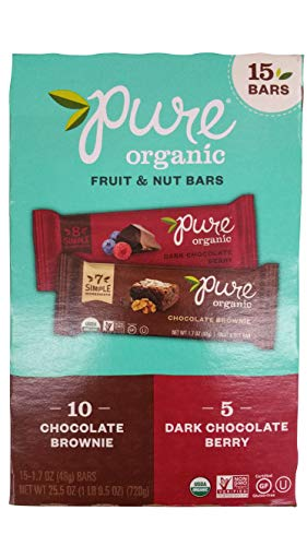 Brownie Pure Organic Bar - Pure Organic 10 Chocolate Brownie Bar & 5 Dark chocolate berry Gluten-Free, Certified Organic, Non-GMO, Vegan, Kosher, Plant Based Whole Food Nutrition Bar, 1.7 ounce (Pack of 15)