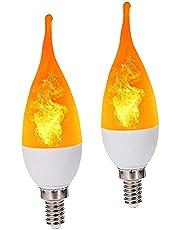 Gloeilamp gloeilamp vlam flakkerende kaars ,2 stuks E14 LED 1,20 W gloeilampen, decoratieve sfeerlamp voor Kerstmis, huis/hotel/bar feestdecoratie