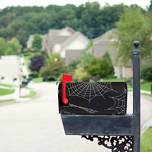 (THKDSC Black Spiders and Broken Webs Mailbox Covers Standard Size Original Magnetic Mail Cover Letter Post Box 21