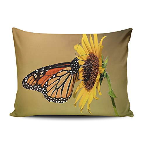 WEINIYA Home Custom Decor Butterfly Kiss The Sunflower Throw Pillow Cover Exquisite One Side Printed Patterning Lumbar 12x20 Inches