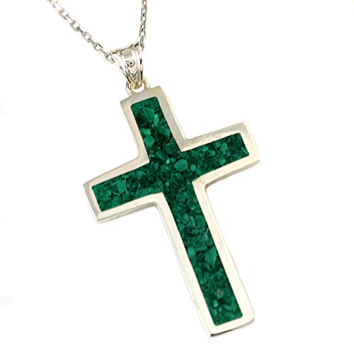 Sterling Silver Natural Green Malachite 1.19 inches Cross Pendant Necklace 16+2 inches ()