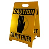 "NMC FS8 Double Sided Floor Sign, Legend ""CAUTION - DO NOT ENTER KEEP OUT"" with Graphic, 12"" Length x 20"" Height, Coroplast, Black on Yellow"