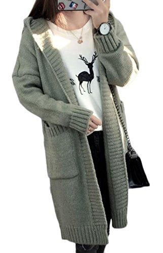 PIITE レディース 秋 冬 カーディガン 柔らかい フード付き ロングアウター ファッション シンプル かわいい カジュアル 厚手 ニットコート ゆったり 韓国風 ロングコート