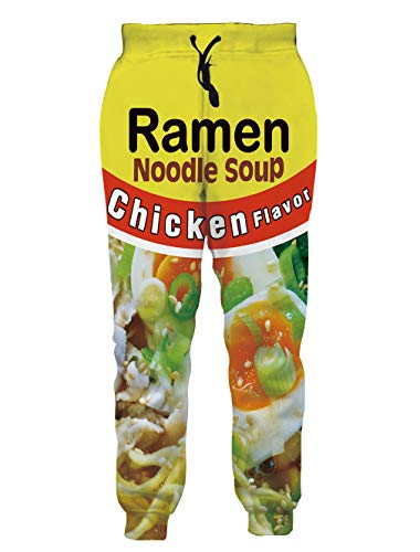 SKYRAINBOW Sportswear Pants 3D Chicken Ramen Noodle Soup Printed Comfy Jogging Trousers for Men Women