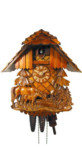August Schwer Cuckoo Clock Relif, Horse, Child 1.0457.01.C