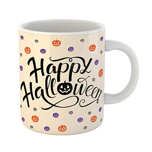 Emvency Coffee Tea Mug Gift 11 Ounces Funny Ceramic Happy Halloween Lettering Pumpkins in Orange Violet and Gray Colors Trick Treat Gifts For Family Friends Coworkers Boss Mug ()