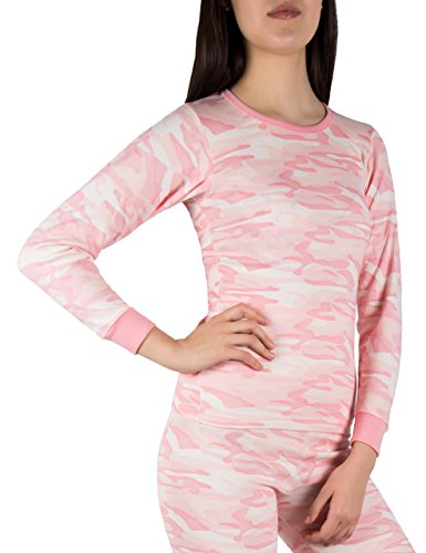 A Scott Sexy Basics Ladies Soft Fleece Lined Base Layer Long-Sleeve Thermal Cotton Crew T SHIRT (Large, PINK CAMO) (Camouflage Thermal Shirt)
