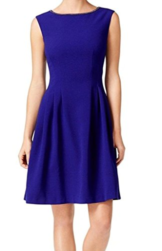 Dress Pleated Vince (Vince Camuto Women's Embellished Neck Pleated Dress Blue 10)