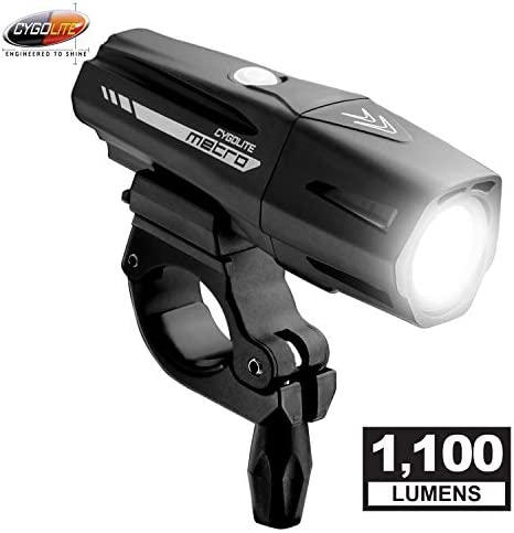 Cygolite Metro Pro 1,100 Lumen Bike Light 5 Night 3 Daytime Modes Compact Durable IP67 Waterproof Secured Hard Mount USB Rechargeable Headlight for Road, Mountain, Commuter Bicycles