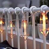 FZZ698 String Lighting Rose Gold Diamond Shape LED String Courtyard Decorative Drip Home and Living (multi)