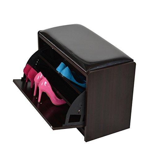 Wood Shoe Storage Bench Seat Ottoman Cabinet Closet Shelf Organizer PU Entryway (Threshold Ottoman Target)