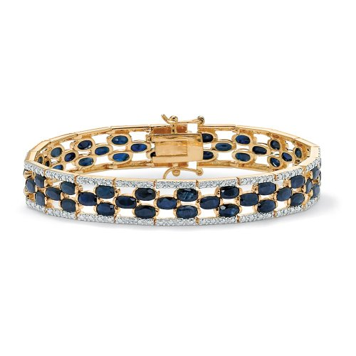 Midnight Blue Sapphire (Midnight Blue Genuine Sapphire Diamond Accent 14k Gold-Plated Tennis Bracelet 7.25