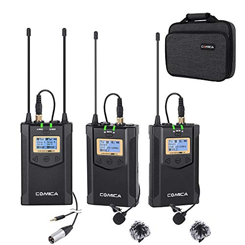 Wireless Microphone Comica CVM-WM100 PLUS 48-Channel Professional UHF Dual Wireless Lavalier Lapel Microphone System for Canon Nikon Sony Panasonic DSLR Cameras,XLR Camcorder,Smartphone etc.(2TX+1RX) ()