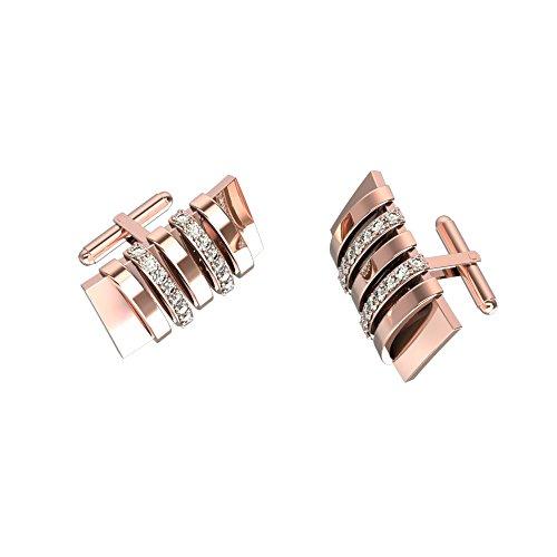 Alternating Diamond Stripes Chanel Design Cuff links 10K Rose Gold Cufflinks with 0.36 Ct Diamonds an Essential Accessory for Mens Dress Shirt / - Design Link Diamond