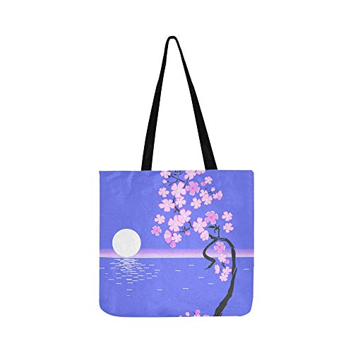 Moon Flowers Ocean Moonlight Picture Painting Canvas Tote Handbag Shoulder Bag Crossbody Bags Purses For Men And Women Shopping Tote