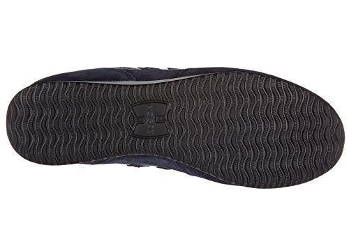 Hogan scarpe sneakers uomo camoscio nuove olympia h205 blu