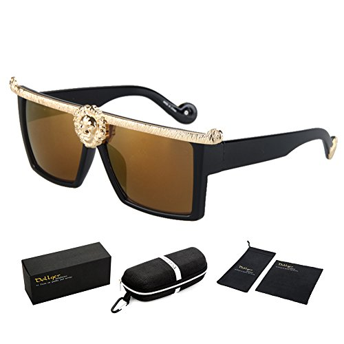 Dollger Square Flat Top Thick Plastic Super Dark Gangster Luxury Sunglasses 57mm(Brown Mirror Lens+Gold - Case Sunglasses Luxury