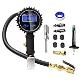 KEDAKEJI Digital Tire Inflator with Pressure Gauge, 250 PSI Air Chuck and Compressor Accessories Heavy Duty with Rubber Hose and Quick Connect Coupler for 0.1 Display Resolution, Black K250PG