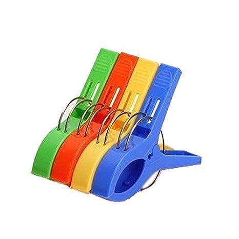 Romote Clavijas Grandes de plástico Conjunto de 4 Piezas de Colores a Prueba de Viento Pinzas de Toallas, Ropa, Mantas, Sábanas: Amazon.es: Hogar
