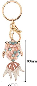 HZOLJVN Cute Fish Shape Llavero Llavero Crystal Goldfish Opal Llavero Accesorios Moda Océano Animal Joyería Mujeres