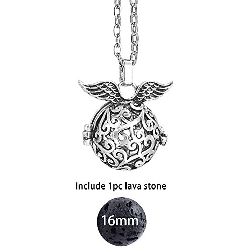 HOUBL Felt Ball Lava Stone Aromatherapy Antique Vintage Glow Diffuser Necklace Locket Necklace for Perfume Essential Oil -