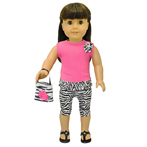 Doll Clothes - Zebra Print Outfit Set Purse Pink Fits American Girl Doll, My Life Doll and 18 inch -