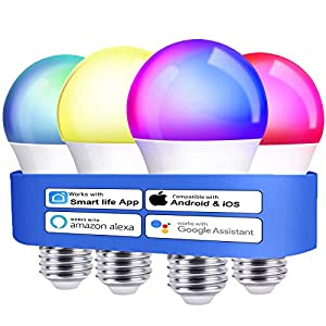 Best Epic Trends 41YVpVIGFxL._SS300_ Alexa Smart Light Bulbs, Boxlood WiFi LED Bulb A19 RGB Color Changing Light Bulb Dimmable, Work with Google Assistant…