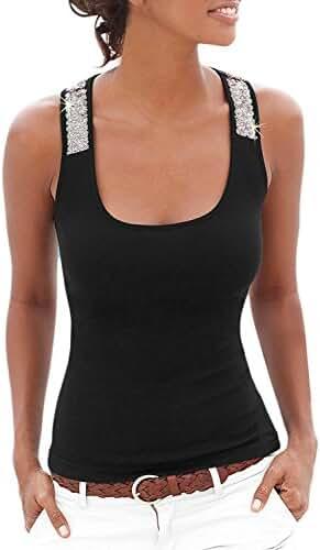 Women Summer Sexy Vest Sequin Sleeveless Casual Tank Tops T-Shirt Blouse