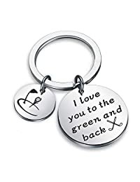 Golf Jewelry Golfer Gift I Love You to The Green and Back Keychain Gift for Golf Players