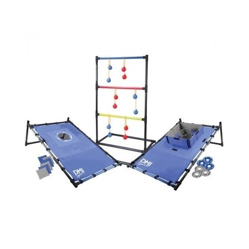 Cornhole Set. Its Time to Find the Outdoor Game Sets. Get Some Outdoor Games for Those Fun Summer Days. Here's a 3 in 1 Tailgate Combo Outdoor Activity Set with Bean Bag Toss, Chuck a Ball( Bolas ), and Washer Toss. Perfect Party Game for Any Event by DMI Sports