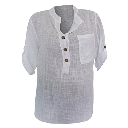 Todaies Women Translucent Blouse Casual Button Pocket Loose Long Sleeve Tops Shirt (Cotton Embroidered Thongs)