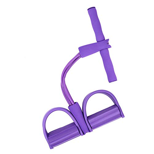 AINAAN 4-Tube Elastic Sit Up Pull Rope with Foot Pedal Abdominal Exerciser Equipment Fitness (Purple)