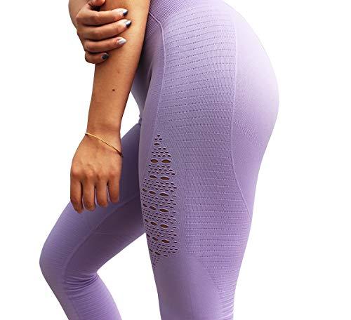 Dutte Dutta Womens Yoga Pants Full Length Super Elastic Breathable Hollows Workout Sports Leggings S -