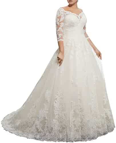 dfaabfcd38ea Women's Plus Size Bridal Ball Gown Vintage Lace Wedding Dresses for Bride  with 3/4