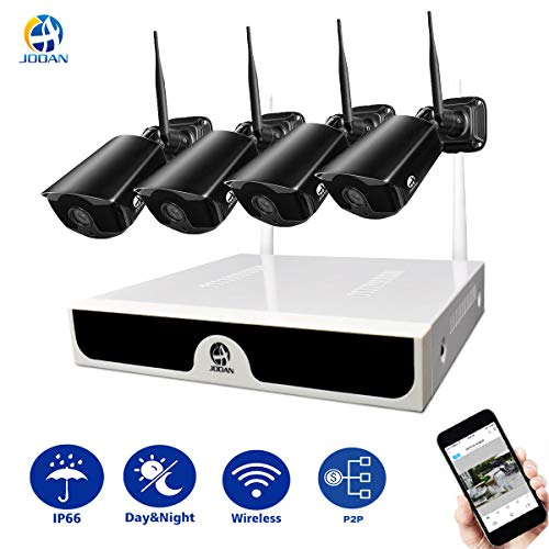 Security System, JOOAN 2.0MP Outdoor Security Camera Wireless 4 x 1080P IP Cameras 4CH NVR Wireless Security CCTV Surveillance Systems Plug and Play Indoor/Outdoor - No Hard Drive