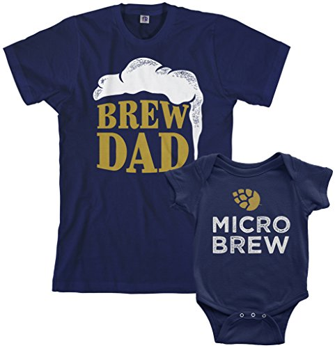 Logo Infant Bodysuit - Threadrock Brew Dad & Micro Brew Infant Bodysuit & Men's T-Shirt Matching Set (Baby: 24M, Navy|Men's: M, Navy)