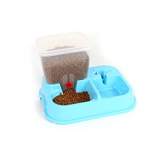 SUNLIGHTAM 2in1 Dog Puppy Cat Pet Automatic Feeder Dispenser Meal Tray Animal Water Bottle Food Bowl Portion Control