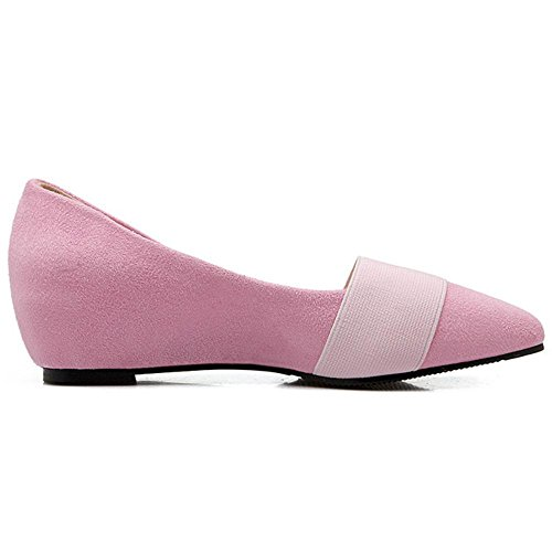 TAOFFEN Court Shoes Wedge Pointed 32 Comfort Slip Toe Size On Heel Asian Pink Women's 8gxrz8