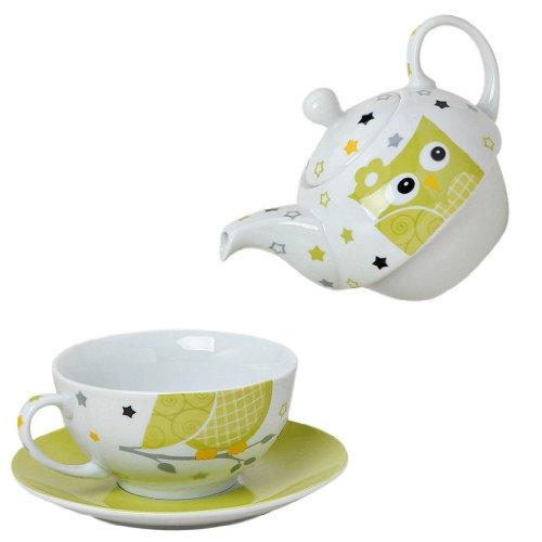 Tea for one Set 3-teilig Porzellan Teekanne mit Tasse und Untertasse in Geschenkbox (Grün)