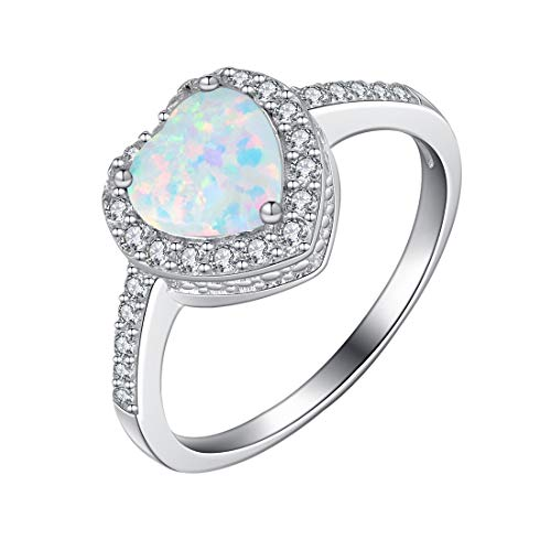 FANCIME 925 Sterling Silver Heart Shaped Opal Halo CZ Cubic Zirconia Ring for Women Girls, Size 8