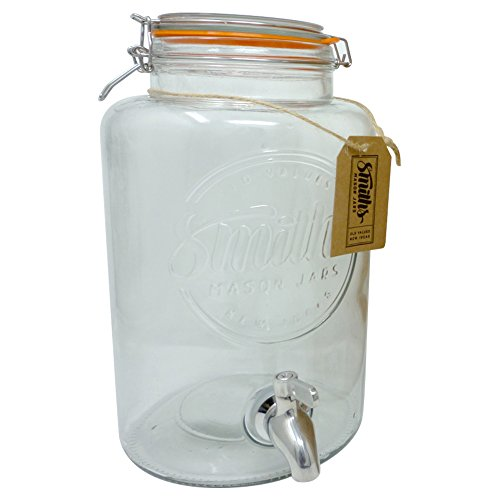 5 Litre Drinks Dispenser with Steel Spigot, wire mesh (to stop blockages) and gift tag, it's the Ultimate Drinks cooler - By Smith's Mason Jars (Plastic Dispenser Tea)