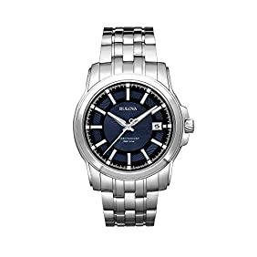 Bulova Men's Precisionist Blue Dial and Stainless Steel Watch