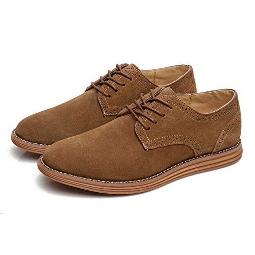 Gleader NUEVOS zapatos de gamuza de cuero de estilo europeo oxfords de los hombres casuales 999 Poco Bronceada(tamano 40) HHTy8W